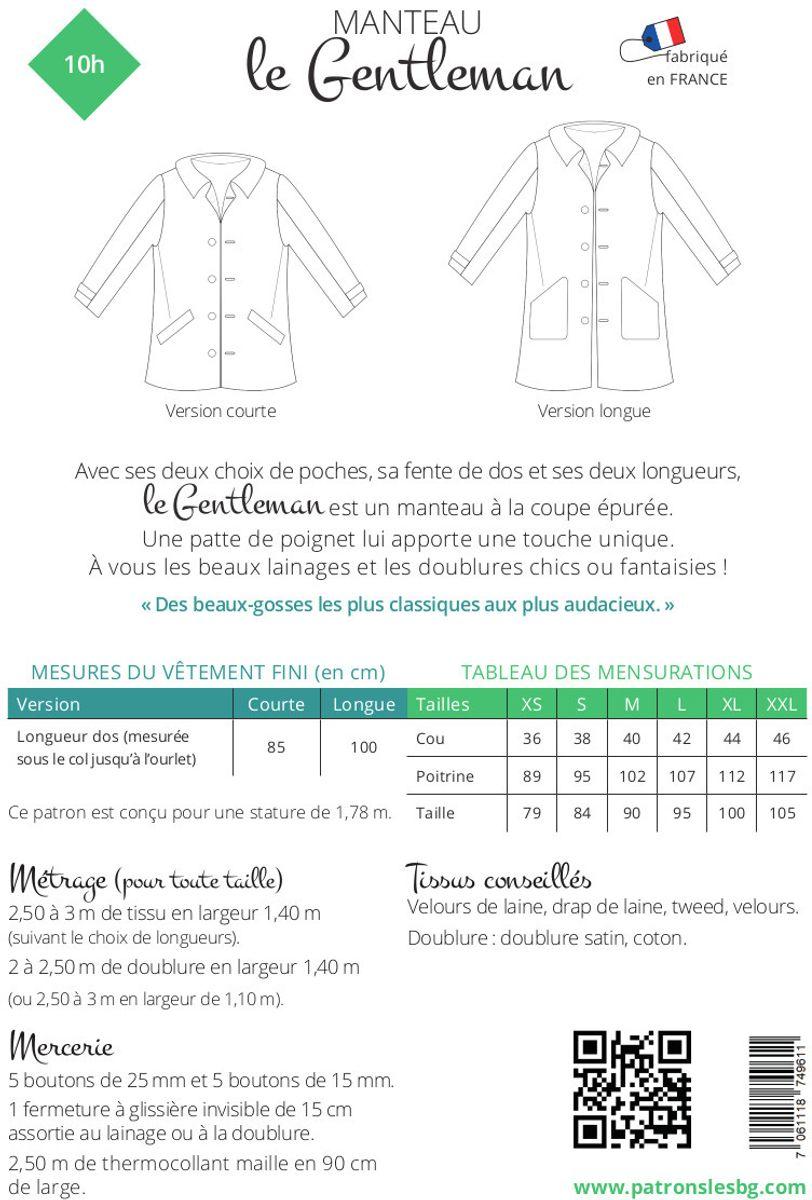 Patron de manteau Gentleman - Les BG