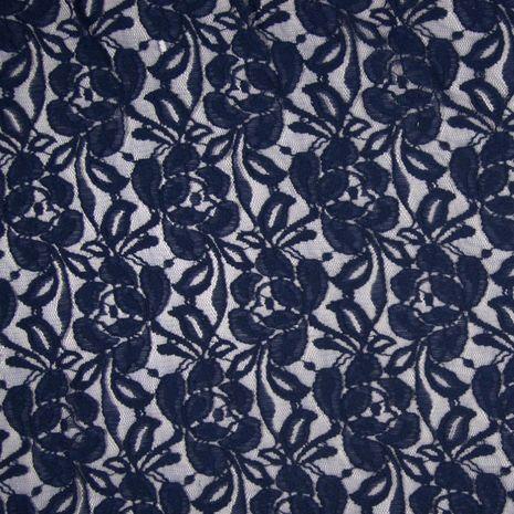 Tissu dentelle fleurs - Bleu marine