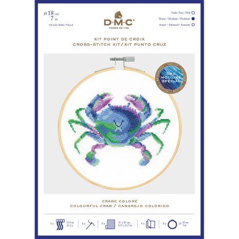 Coffret kit à broder avec tambour 18 cm DMC - Crabe coloré