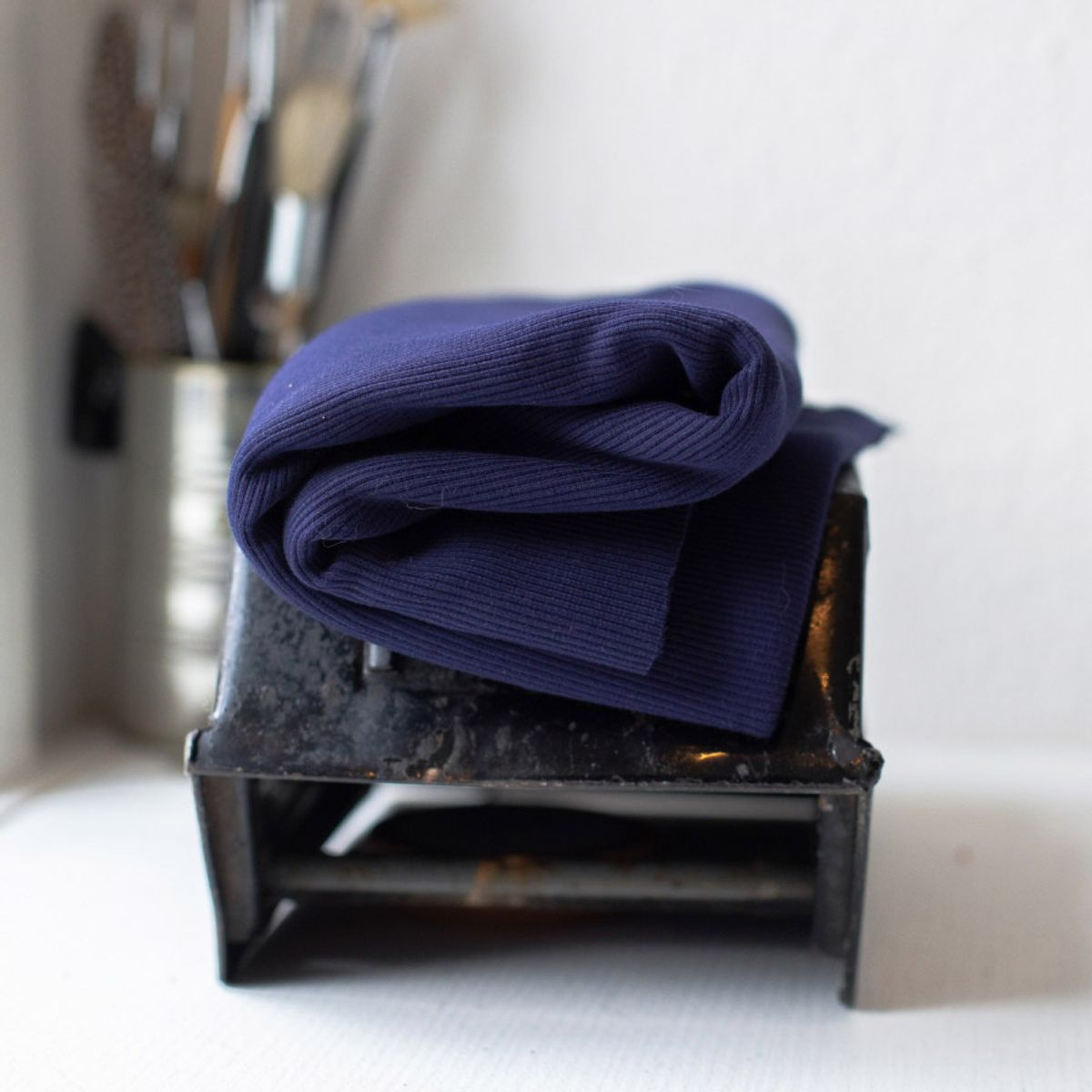 Tissu jersey bord côte côtelé 2x1 BIO - Bleu roy