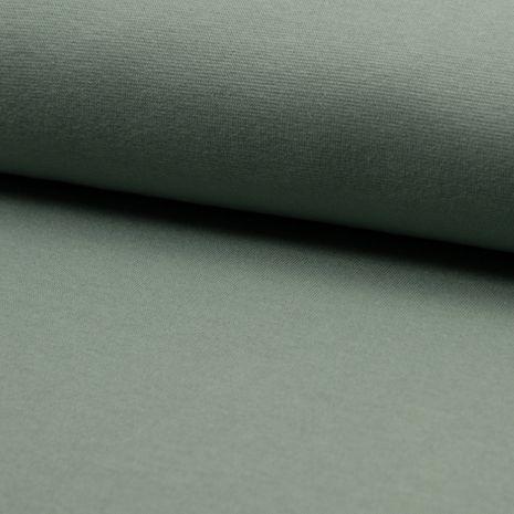 Tissu jersey bord côte BIO - Vert gris