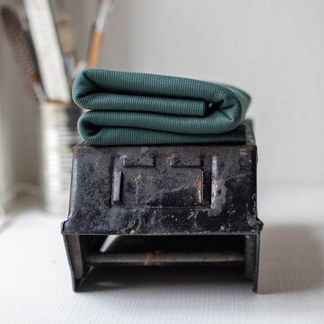 Tissu jersey bord côte côtelé 2x1 BIO - Vert sapin