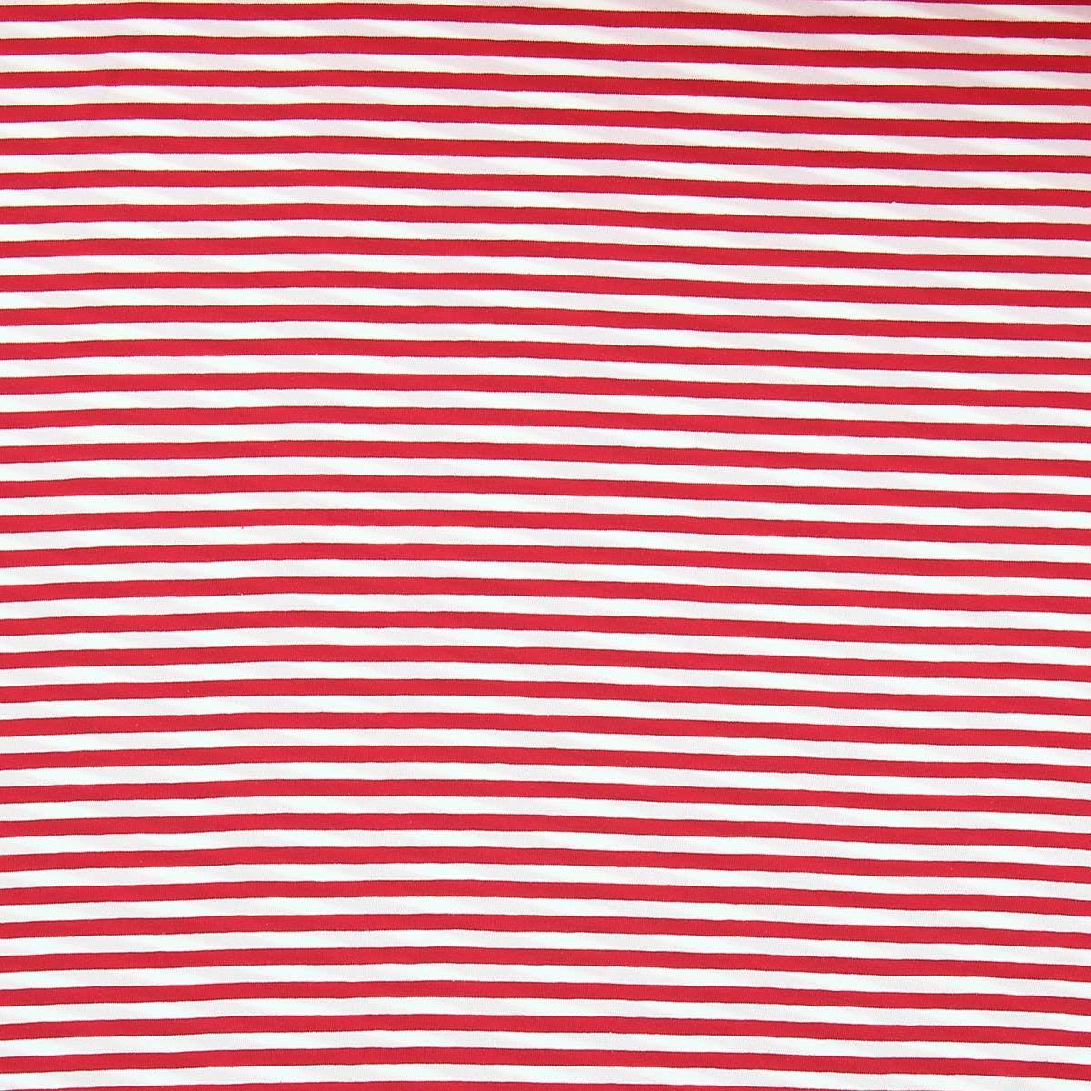 Tissu jersey marinière - Rayures moyennes rouges