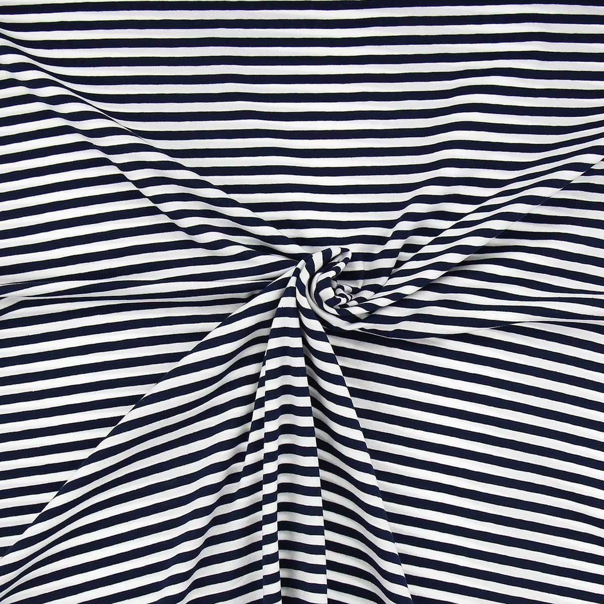 Tissu jersey marinière - Rayures moyennes bleues