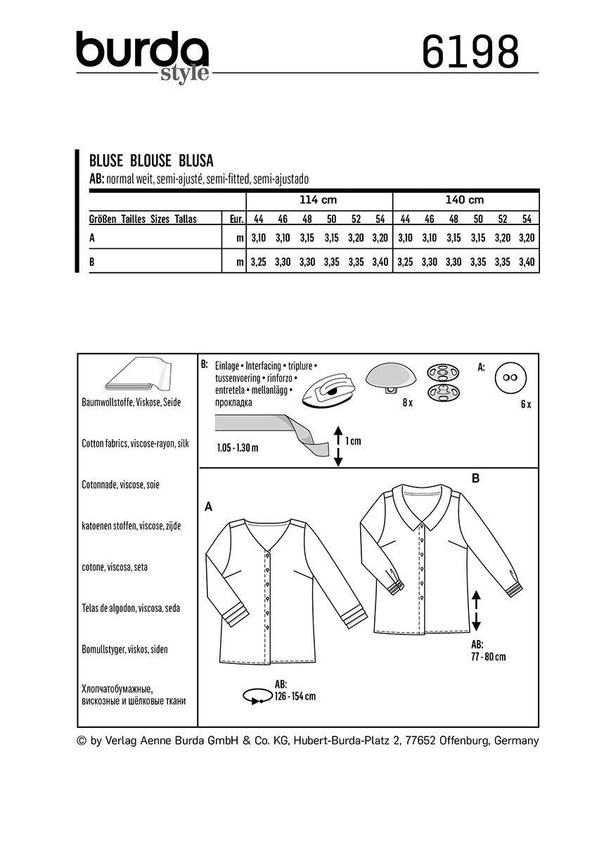 Patron de blouse - Burda 6198