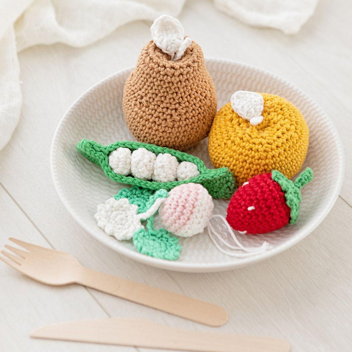Kit panier bio en crochet - 5 fruits et légumes par jour