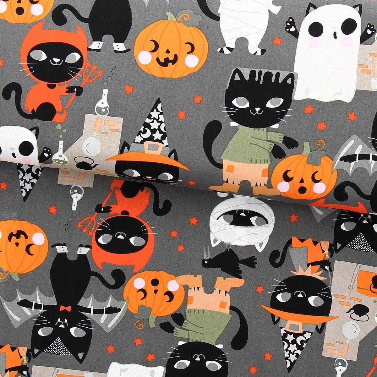 Tissu coton Alexander Henry - Costume kitty - Gris foncé