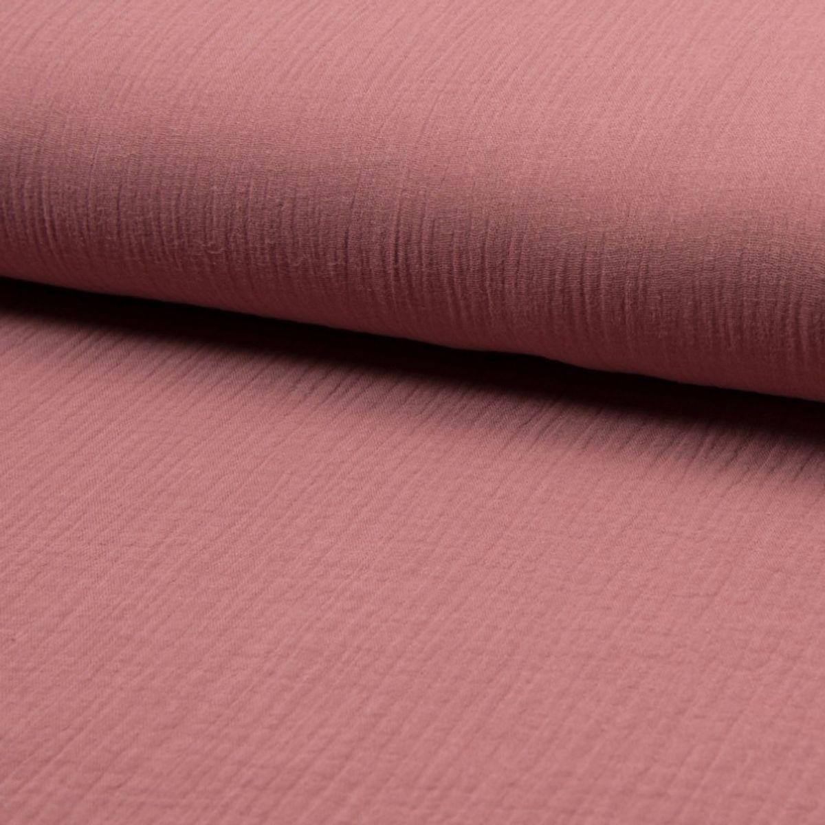 Tissu double gaze de coton - Rose antique