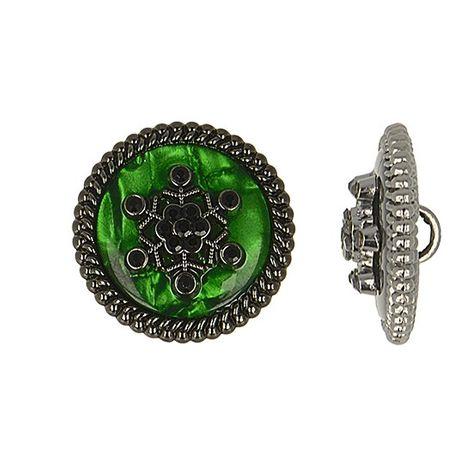 Bouton métal flocon de neige strass - Vert sapin