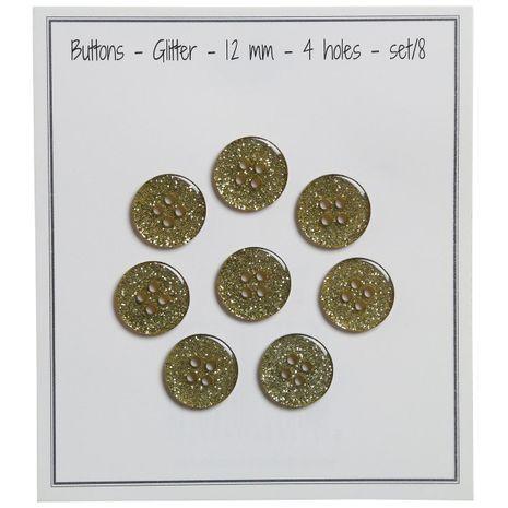 Set de 8 boutons Glitter 12 mm - Vert