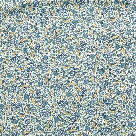 Tissu voile de coton fleuri BIO - Fleuri bleu et jaune