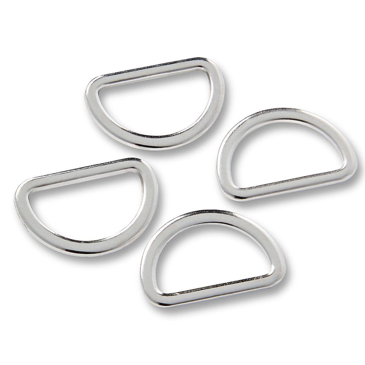 Boite de 4 anneaux en D - Argent 20 mm