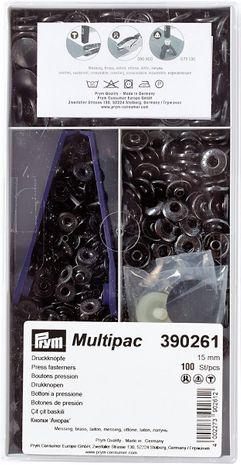 Multipac de 100 boutons pression Anorak - Bruni 15mm
