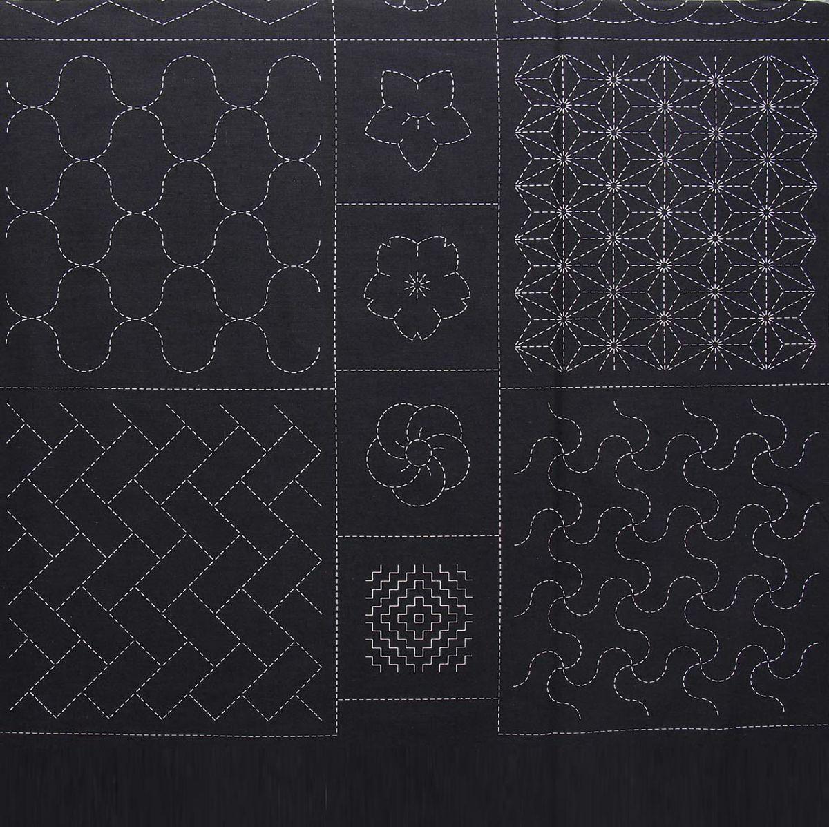 Panneau de tissu coton sashiko imprimé Olympus - Noir
