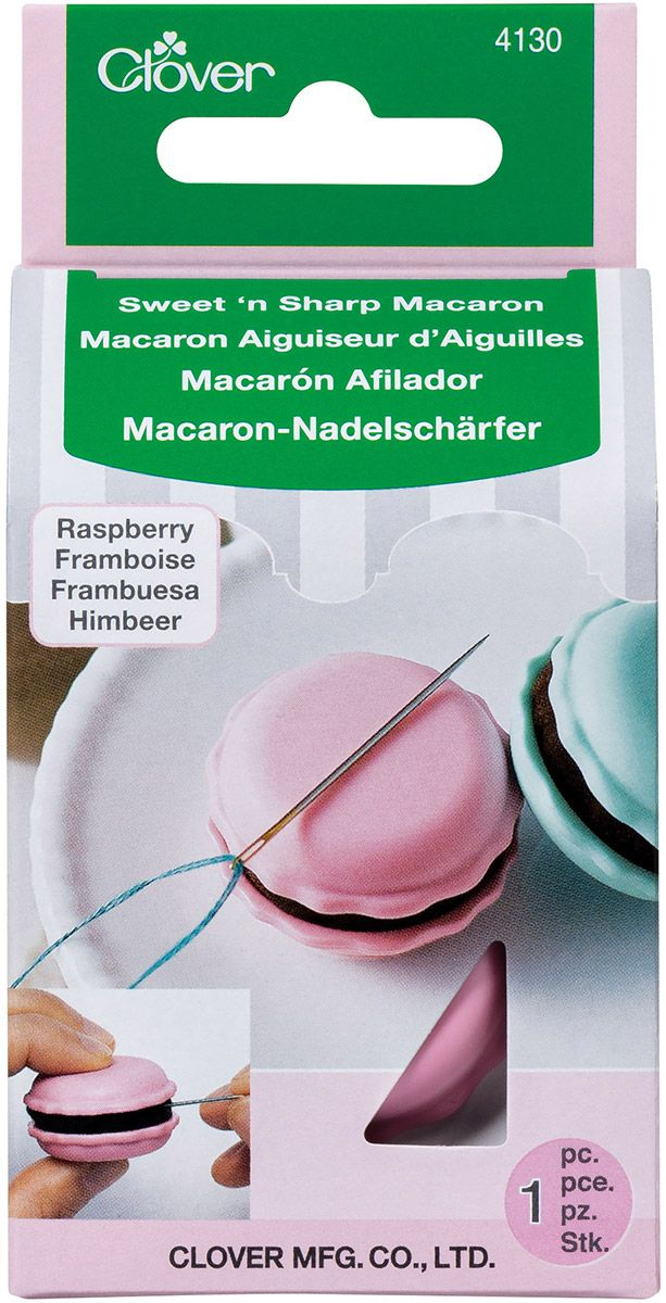 Macaron aiguiseur d´aiguilles et porte aiguilles - Framboise