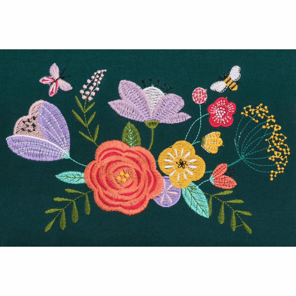 Boite à couture avec broderie - Jardin fleuri bleu M