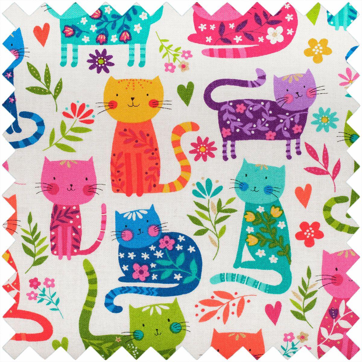 Boite à couture - Chats colorés M