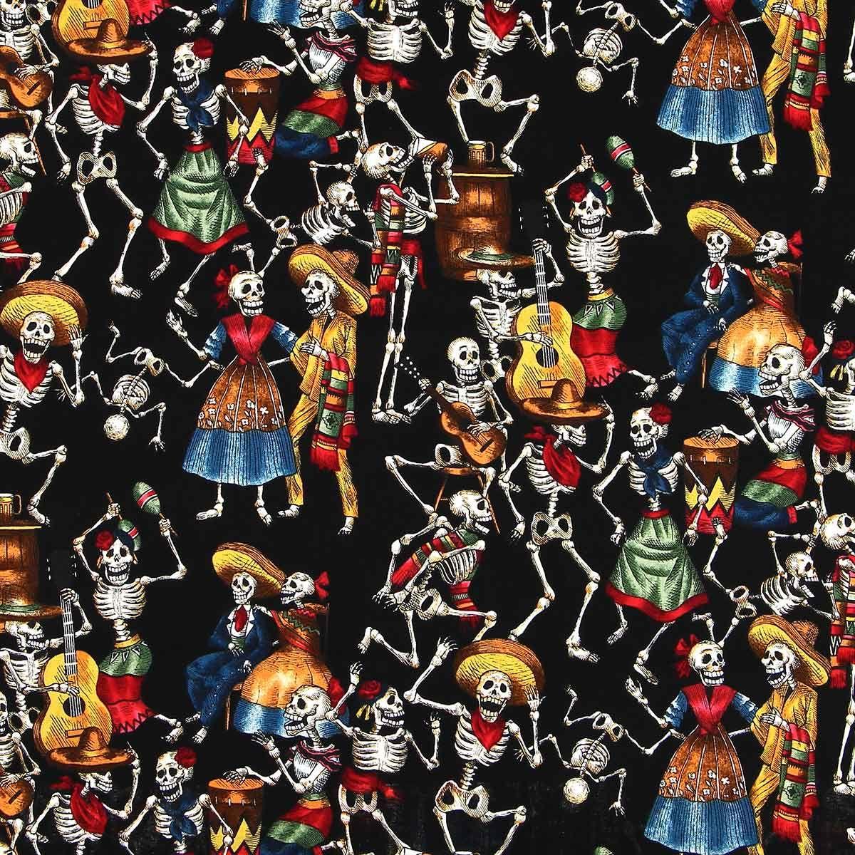 Tissu coton Alexander Henry - Folklorico - Noir