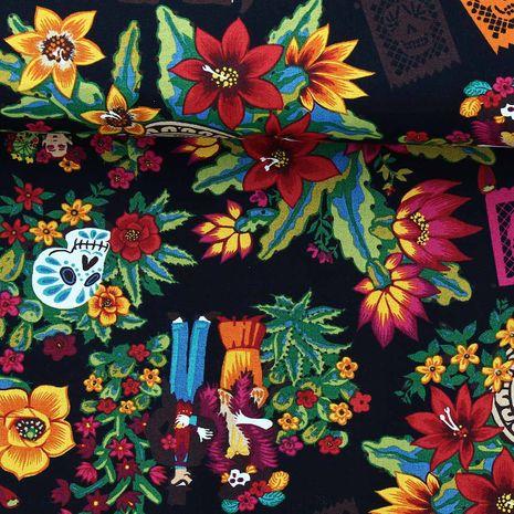 Tissu coton Alexander Henry - Folklorico - Dia de los muertos - Noir