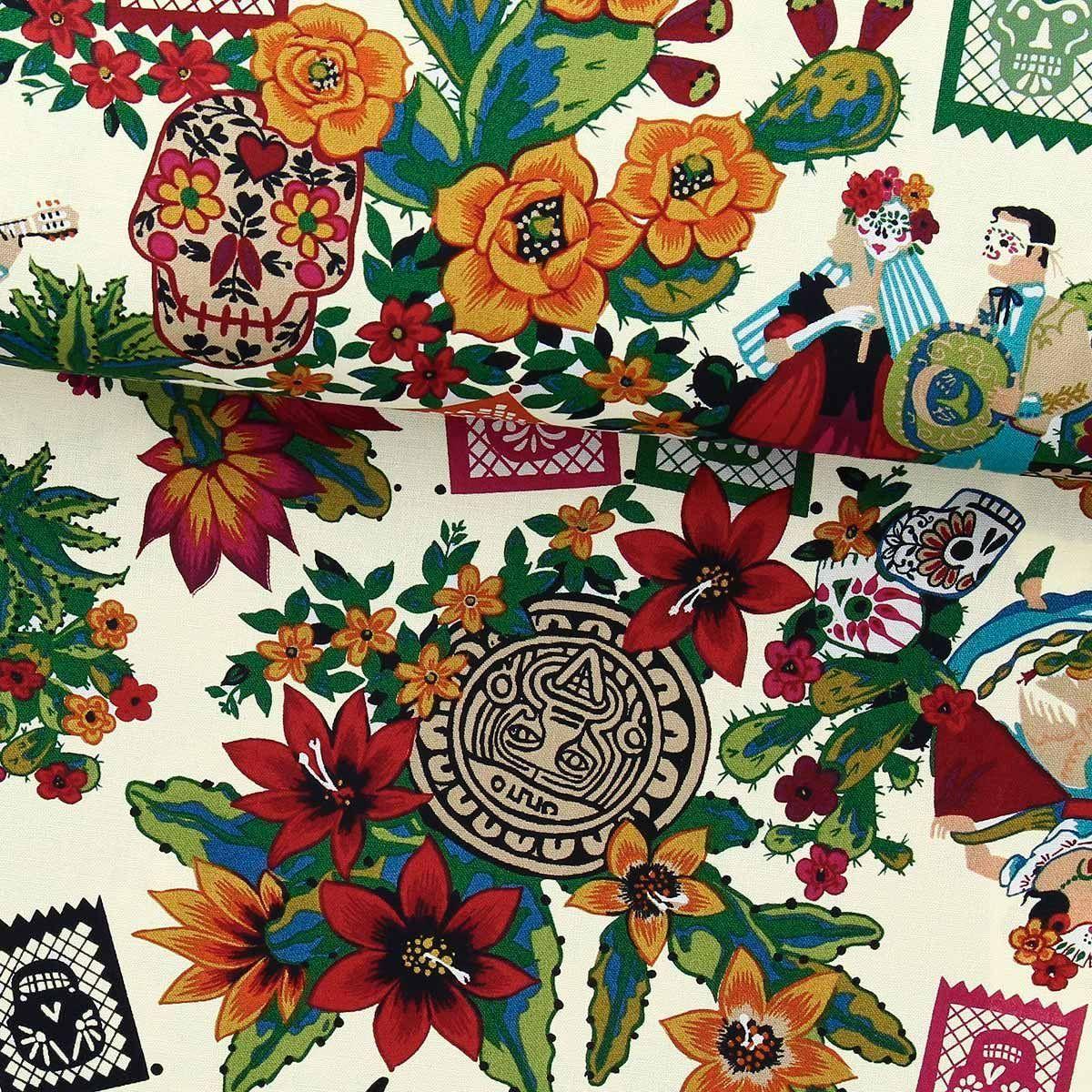 Tissu coton Alexander Henry - Folklorico - Dia de los muertos - Ecru