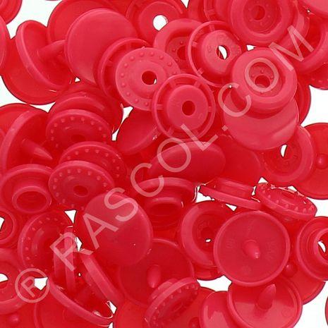 Sachet de 25 pressions résine KAM ronds - Rouge magenta