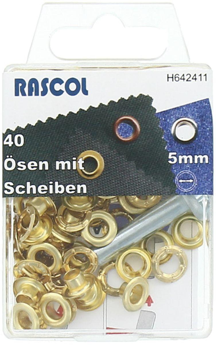 Boite 40 oeillets 5 mm avec outil de pose Rascol - Or