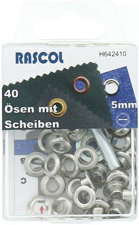 Boite 40 oeillets 5 mm avec outil de pose Rascol - Argent