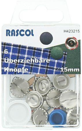 Boite de 6 boutons à recouvrir avec outil Rascol - 15 mm
