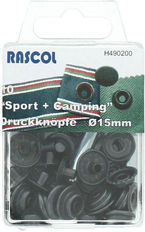 Boite de 10 boutons-pression sport camping Rascol - 15 mm noir