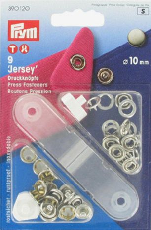 Boutons pression jersey Nickel avec outil 10 mm