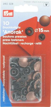 Recharge boutons pression anorak 15 mm Cuivre
