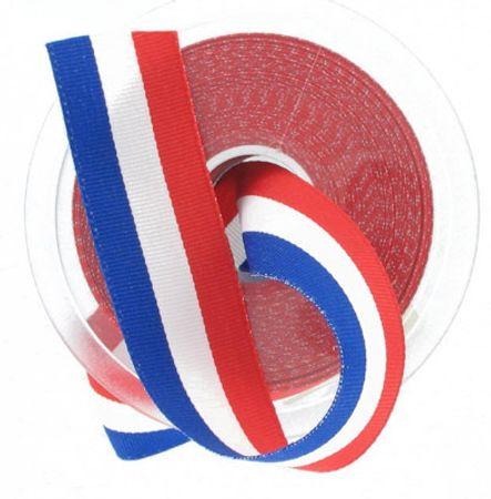 Ruban tricolore français pièce 25 m - 50 mm