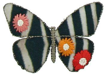Motif papillon mode rayé noir et beige