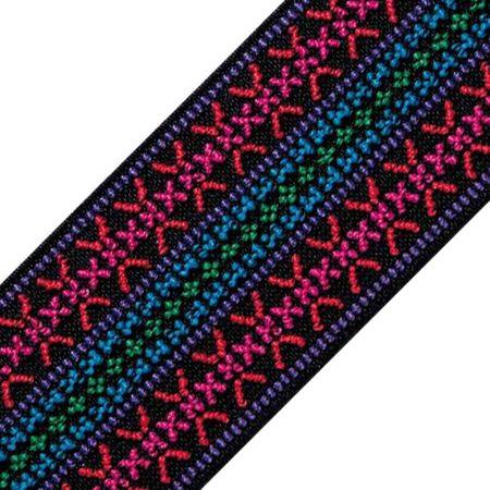 Elastique broderie Color dessin fuchsia 50 mm au mètre