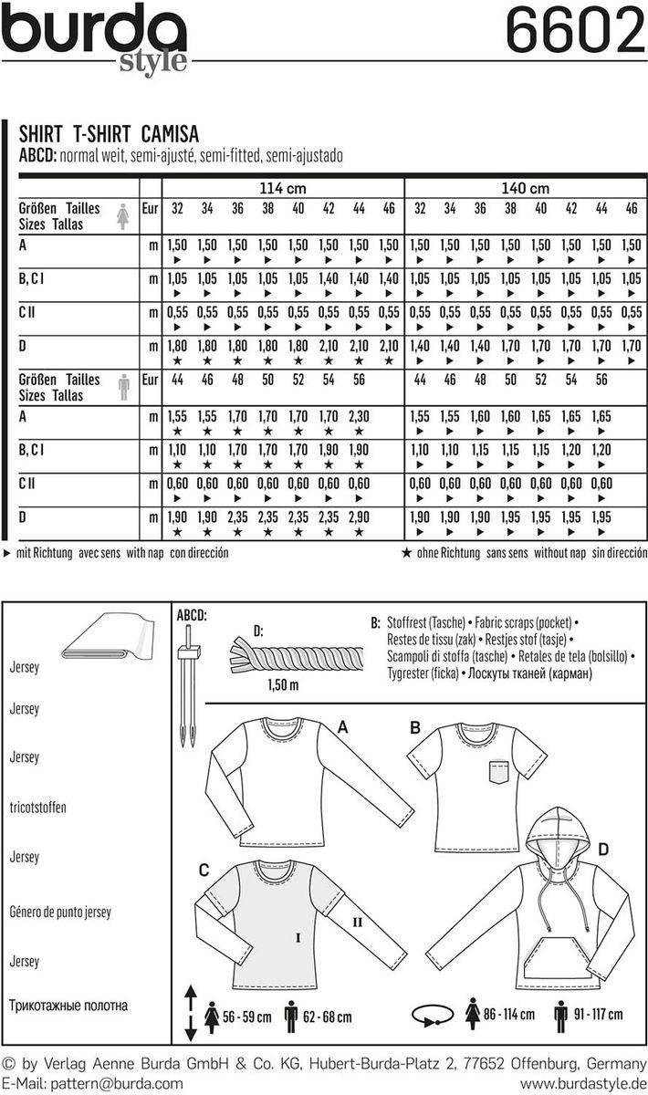 Patron de t-shirt - Burda 6602