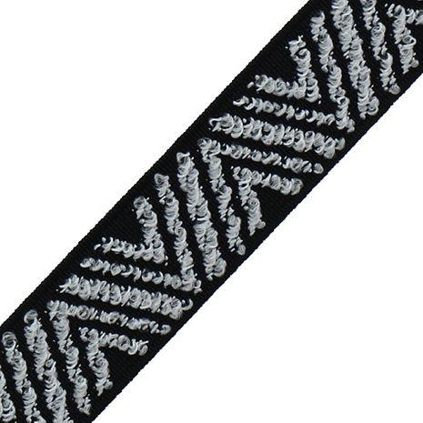 Elastique broderie Color zigzag noir et blanc 25 mm au mètre
