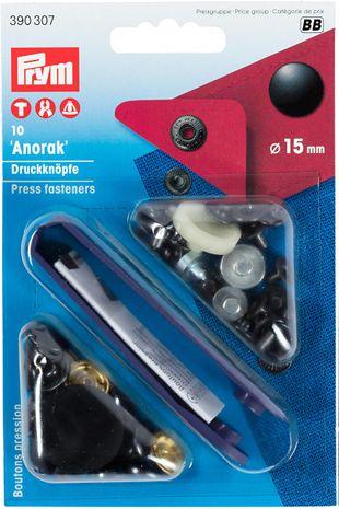 Boutons pression anorak Noir avec outil 15 mm
