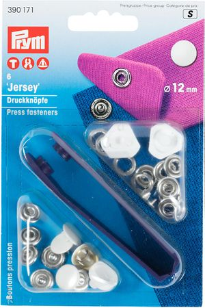 Boutons pression jersey Blanc avec outil 12 mm