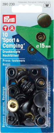 """Recharge boutons pression """"sport camping"""" Noir"""