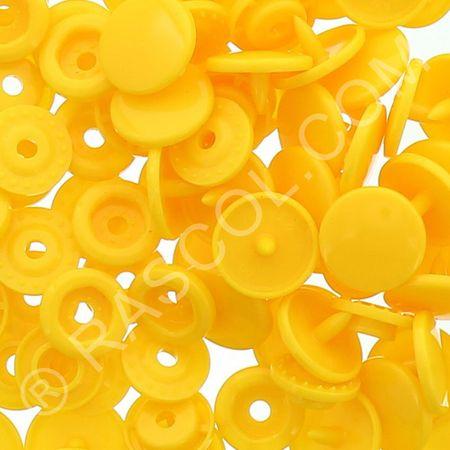 Sachet de 25 pressions résine KAM ronds - Jaune bouton d'or