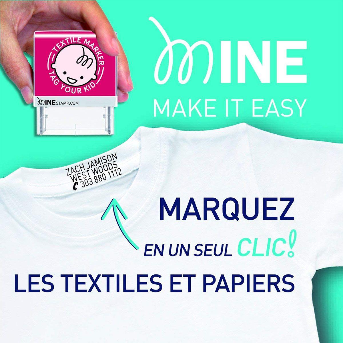 Tampon marqueur personnalisable pour vêtements et livres Mine