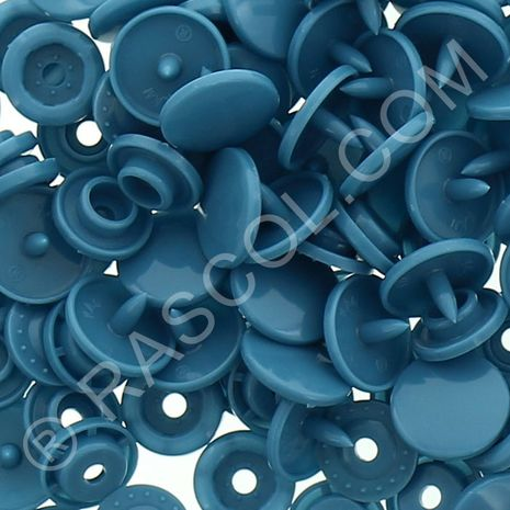 Sachet de 25 pressions résine KAM ronds - Bleu pétrole