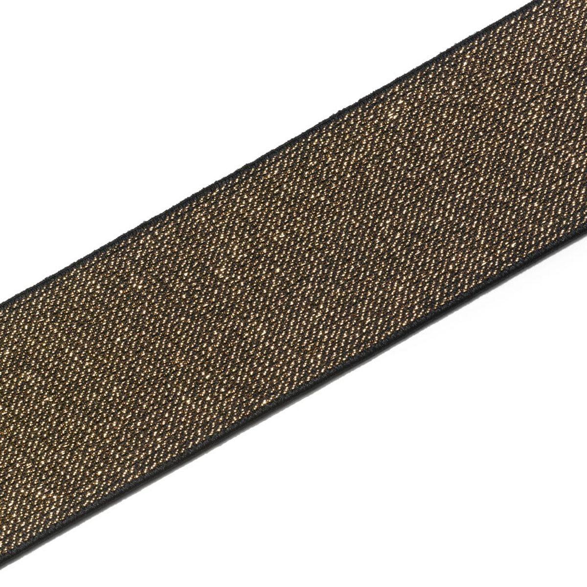 Elastique Color or et noir 50 mm - Au mètre