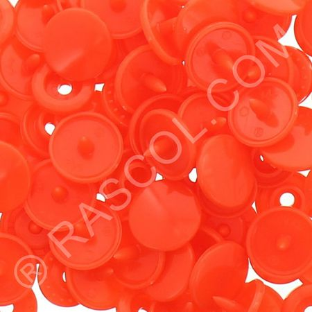 Sachet de 25 pressions résine KAM ronds - Orange fluo