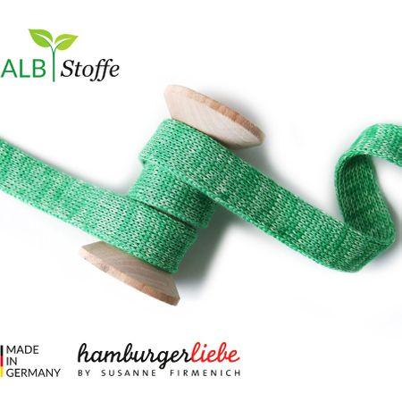Cordon plat tricoté au mètre - Vert mélangé