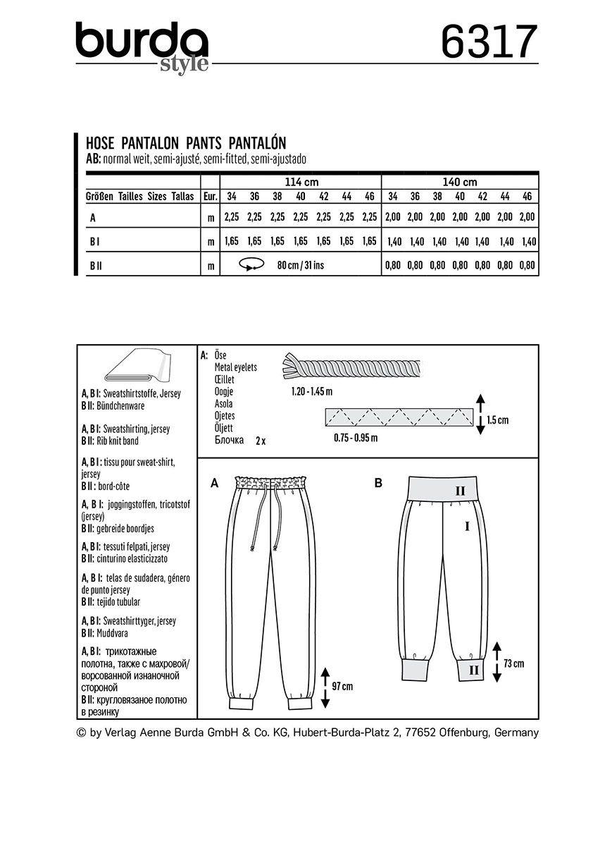Patron de pantalon - Burda 6317