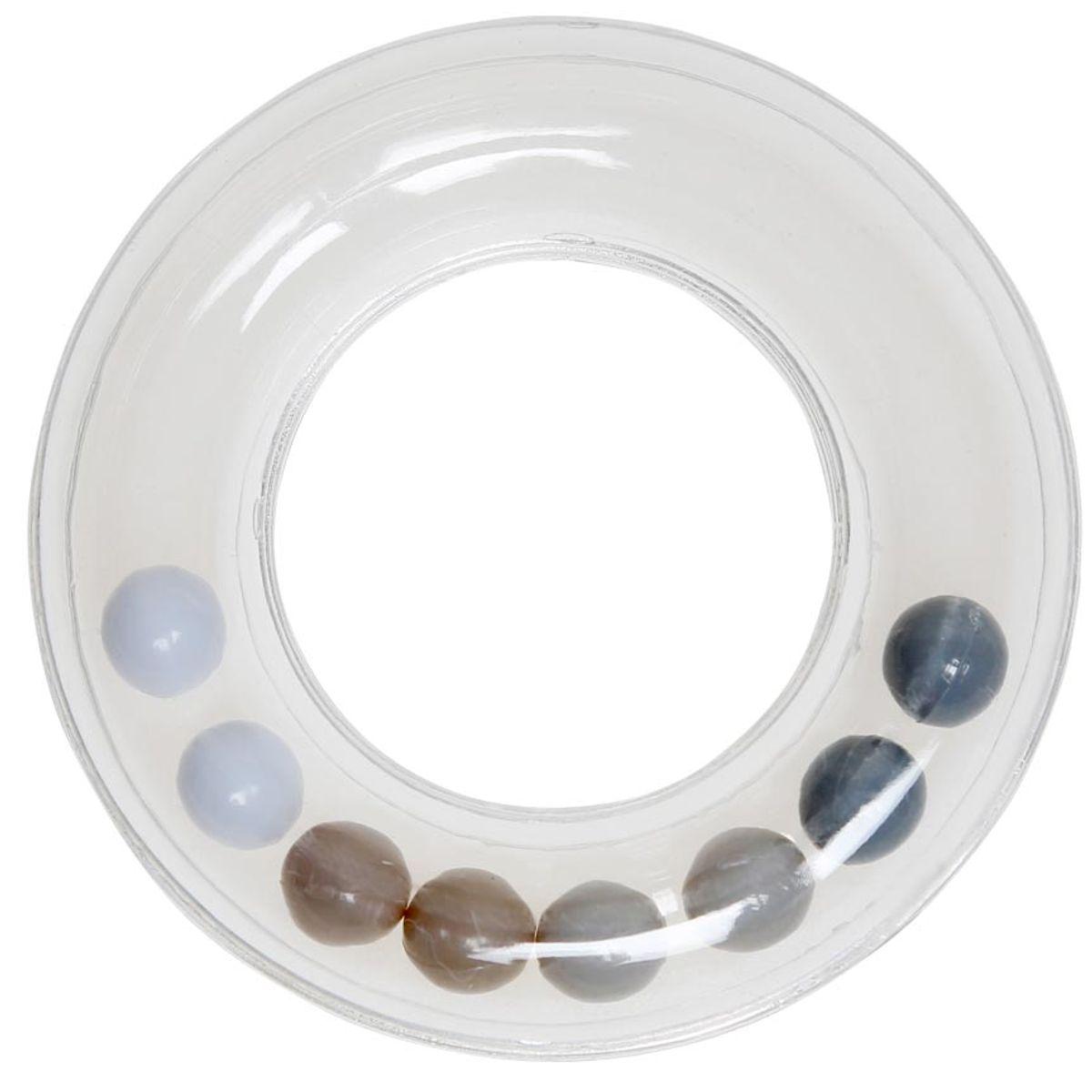 Anneau hochet transparent avec perles 63 mm - Gris