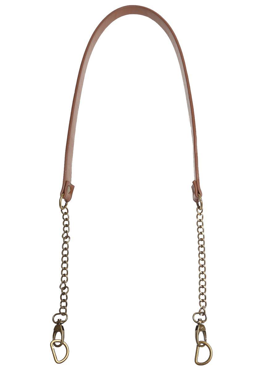Anse de sac à main marron avec chaine bronze - 102 cm x 12 mm
