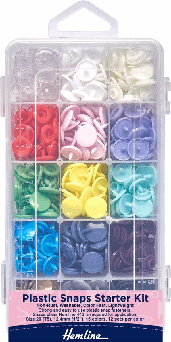 Boite plastique garnie de 180 pressions compatibles KAM