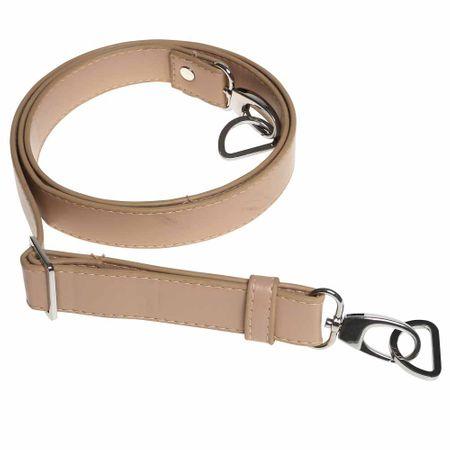 Sangle bandoulière de sac simili beige avec mousqueton argent - 2,5 cm x 140 cm